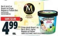 Ben & Jerry's Or Breyers Ice Cream - Magnum Or Fruttare Bars