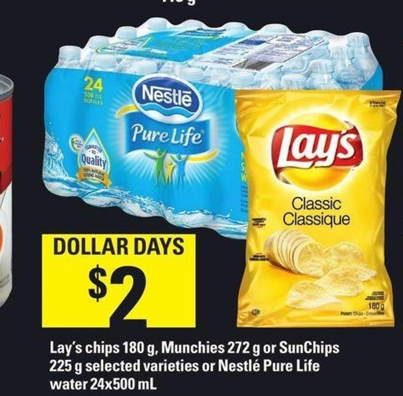 Lay's Chips 180 g - Munchies 272 g Or Sunchips 225 g Or Nestlé Pure Life Water 24x500 mL