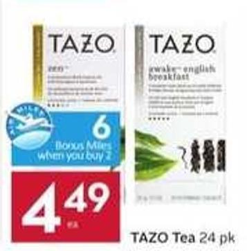 Tazo Tea - 6 Air Miles Bonus Miles