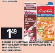 Campbell's Broth 900 Ml Or Everyday Gourmet Soup 500-540 Ml - Neilson Chocolate Or Strawberry Milk 1 L