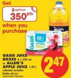 Oasis Juice Boxes - 8 X 200 mL or Allen's Apple Juice - 1.89 L