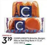 Compliments Brioche Burger - Mini or Hot Dog Buns
