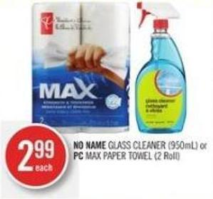 No Name Glass Cleaner (950ml) or PC Max Paper Towel (2 Roll)