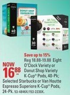 Eight O'clock Variety or Donut Shop Variety K-cup Pods - 40-pk; Selected Starbucks or Van Houtte Espresso Superiore K-cup Pods - 24-pk