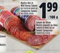 Mastro Hot Or Mild Genoa Salami Deli Sliced Or Shaved Or