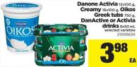 Danone Activia - 12x100 G - Creamy - 16x100 G - Oikos Greek Tubs - 750 G - Danactive Or Activia Drinks - 8x93 Ml