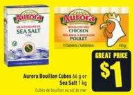 Aurora Bouillon Cubes 66 g or Sea Salt 1 Kg