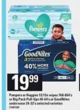 Pampers Or Huggies 12/13x Wipes - 768-864's Or Big Pack Pull-ups - 40-64's Or Goodnites Underwear - 24-32's