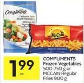 Compliments Frozen Vegetables 500-750 g or Mccain Regular Fries 900 g