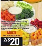 Small Fruit Platter With Dip 1.17 Kg Or Vegetable Platter 934 G Prepared Fresh In-store Daily