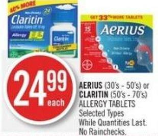 Aerius (30's - 50's) or Claritin (50's - 70's) Allergy Tablets
