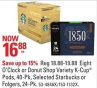 Eight O'clock or Donut Shop Variety K-cup Pods - 40-pk - Selected Starbucks or Folgers - 24-pk
