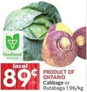 Product Of Ontario Cabbage or Rutabaga 1.96/kg