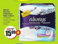 Always Discreet Underwear - Pads or Liners 17-66 Pk