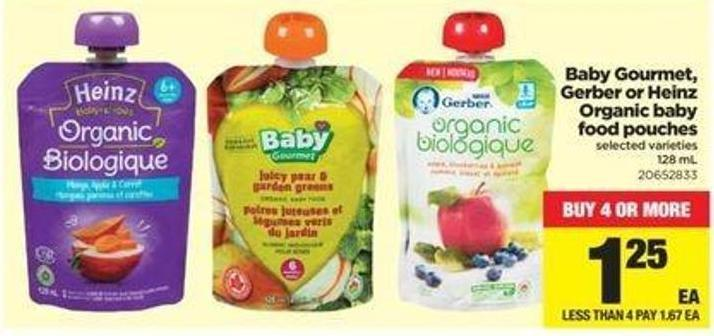 Baby Gourmet - Gerber Or Heinz Organic Baby Food Pouches - 128 Ml