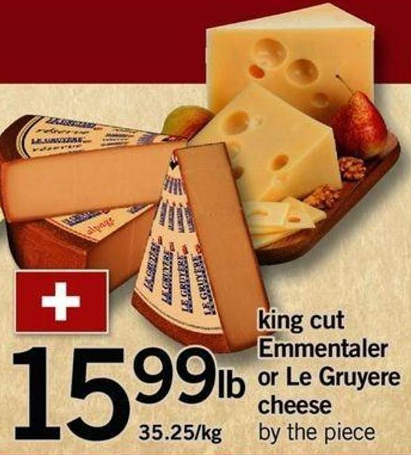 King Cut Emmentaler Or Le Gruyere Cheese