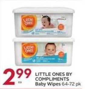 Little Ones By Compliments Baby Wipes 64 - 72 Pk