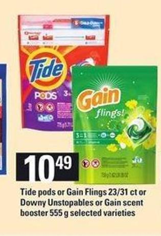 Tide PODS Or Gain Flings - 23/31 Ct Or Downy Unstopables Or Gain Scent Booster - 555 G