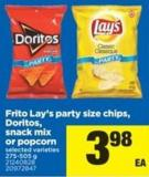 Frito Lay's Party Size Chips - Doritos - Snack Mix Or Popcorn - 275-505 g