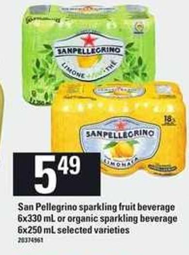 San Pellegrino Sparkling Fruit Beverage 6x330 Ml Or Organic Sparkling Beverage 6x250 Ml