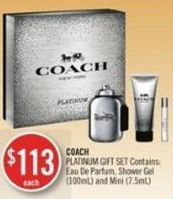 Coach  Platinum Gift Set Contains: Eau De Parfum - Shower Gel (100ml) and Mini (7.5ml)