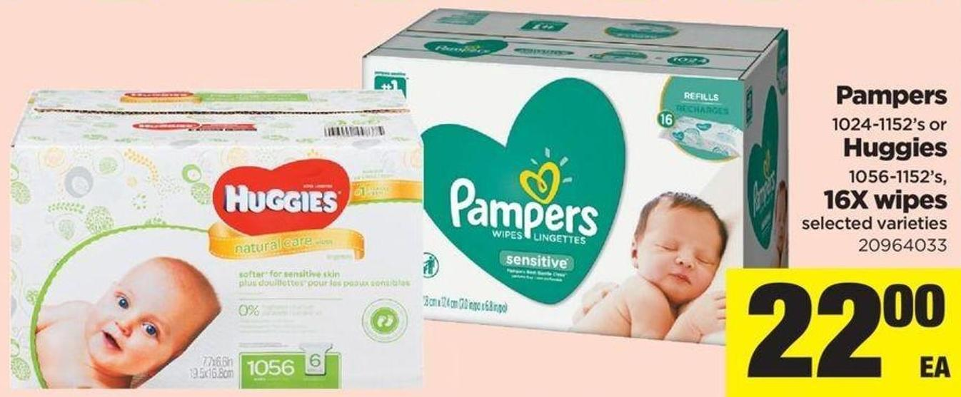 Pampers 1024-1152's Or Huggies 1056-1152's - 16x Wipes