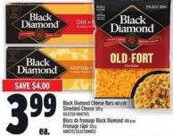 Black Diamond Cheese Bars 400 g or Shredded Cheese 320 g
