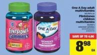 One A Day Adult Multivitamins - 60/90's or Flintstones Children Multivitamins - 50/60's