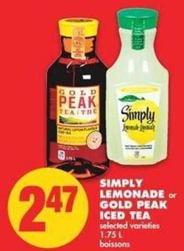 Simply Lemonade Or Gold Peak Iced Tea - 1.75 L