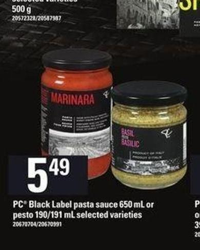 PC Black Label Pasta Sauce - 650 Ml Or Pesto - 190/191 Ml