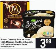 Breyers Creamery Style Ice Cream - 1.66 L - Magnum - Klondike Or Popsicle - 3-12's
