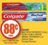 Colgate  Max Fresh Toothpaste (52ml) - Extra Clean or Twister Manual Toothbrush (1's)