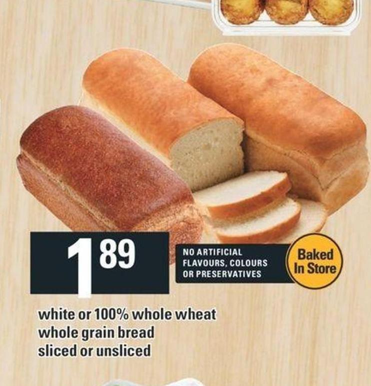 White Or 100% Whole Wheat Whole Grain Bread
