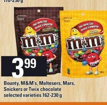 Bounty - M&m's - Maltesers - Mars - Snickers Or Twix Chocolate - 162-230 g