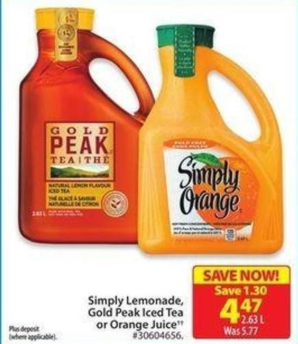 Simply Lemonade Gold - Peak Iced Teora Orange Juice