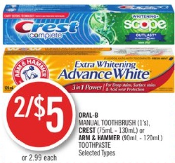 ORAL-B MANUAL TOOTHBRUSH (1's), CREST (75mL - 130mL) or ARM & HAMMER (90mL - 120mL) TOOTHPASTE