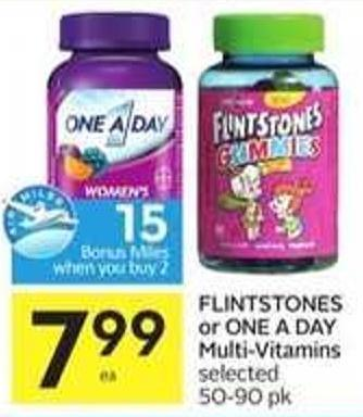 Flintstones or One A Day Multi-vitamins - 15 Air Miles Bonus Miles