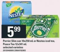 Perrier Slim Can 10x250 Ml Or Nestea Iced Tea - Peace Tea 12x341 Ml