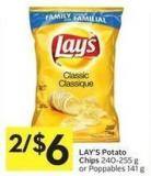 Lay's Potato Chips 240 - 255 g or Poppables 141 g