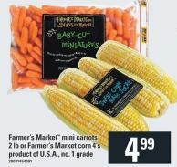 Farmer's Market Mini Carrots 2 Lb Or Farmer's Market Corn 4's
