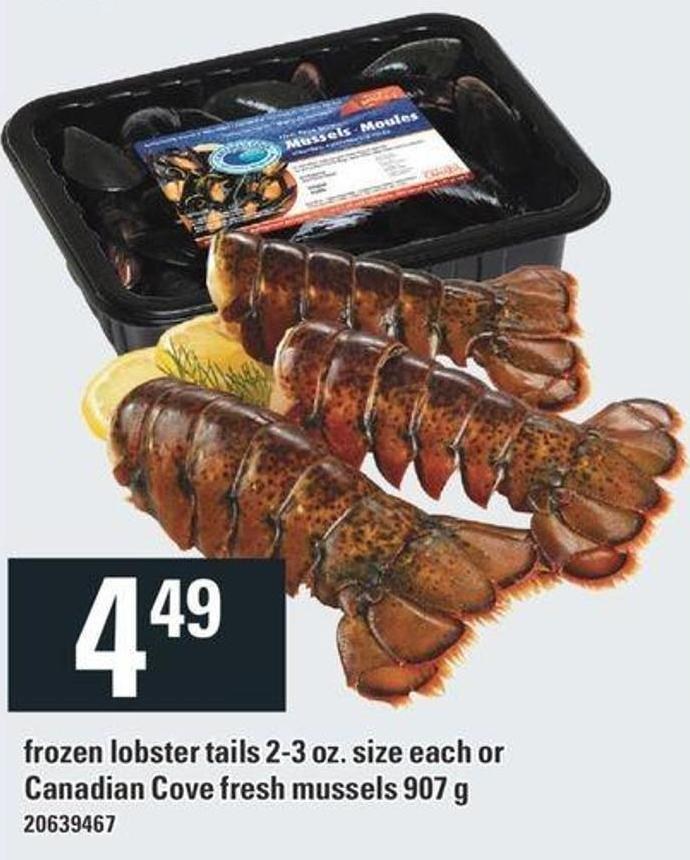 Frozen Lobster Tails 2-3 Oz. Size Each Or Canadian Cove Fresh Mussels 907 g