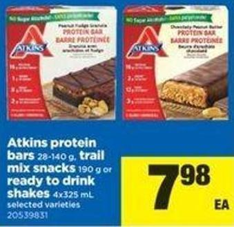 Atkins Protein Bars - 28-140 G - Trail Mix Snacks - 190 G Or Ready To Drink Shakes - 4x325 Ml