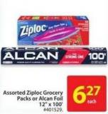 Assorted Ziploc Grocery Pack or Alcan Foil 12in X 100'