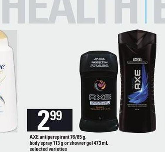 Axe Antiperspirant - 76/85 G - Body Spray - 113 G Or Shower Gel - 473 Ml