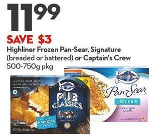 Highliner Frozen Pan-sear - Signature (Breaded or Battered) or Captain's Crew 500-750g Pkg