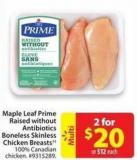 Maple Leaf Prime Raised Without Antibiotics Boneless Skinless Chicken Breasts