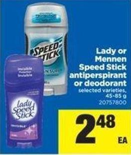Lady Or Mennen Speed Stick Antiperspirant Or Deodorant - 45-85 G