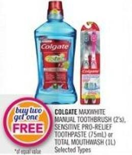 Colgate Maxwhite Manual Toothbrush (2's) - Sensitive Pro-relief Toothpaste (75ml) or Total Mouthwash (1l)