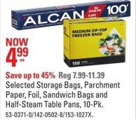Selected Storage Bags - Parchment Paper - Foil - Sandwich Bags and Half-steam Table Pans - 10-pk