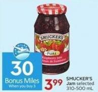 Smucker's Jam Selected 310-500 mL - 30 Air Miles Bonus Miles